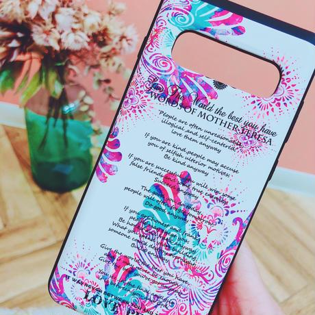 Android-GALAXY S10プラスケース(カード収納付き耐衝撃)★ FLY-WORD OF MOTHERTERESA-3colors