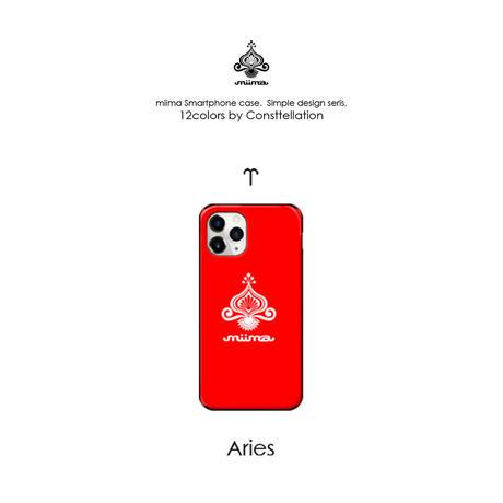 12星座別モチーフカラー★シンプルmiimaロゴiPhoneケース(ミラー付&カード収納&耐衝撃)