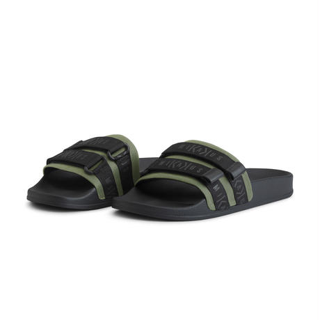 STRAPPED KHAKI SLIDES 55