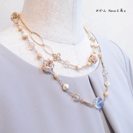 【mk103】2wayロングネックレス[ベージュ]〈ロザフィ〉