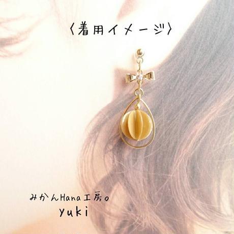 【yk304】フープ&リボンピアス 〜キャラメル〜 [イヤリングへ変更可](美乃花)