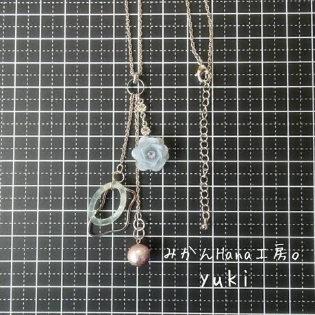 【yk205】ゆらゆらコットンパールのネックレス (パピエル)