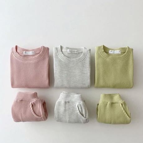 【70cmから100cm】【グレー】色違い二着購入10%オフ。韓国セットアップセーターとパンツ