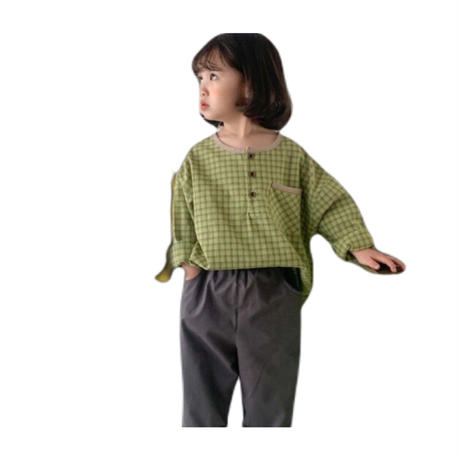 【80cmから120cm】韓国子供服 長袖シャツ tシャツ シンプル 男女兼用 可愛い 秋服 チェック柄シャツ