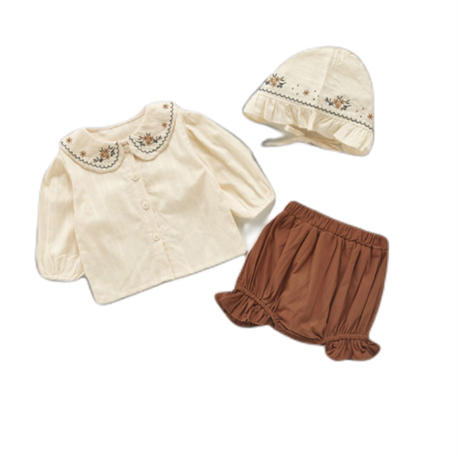 【66cmから100cm】韓国風子供服 韓国ファッション 可愛い トップス パンツ 帽子3点セット 在庫限り