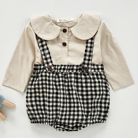[73cmから120cm】秋女の赤ちゃん用セット長袖コットンシャツ + ロンパース幼児女の子スーツ韓国スタイルのベビー服