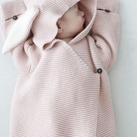 【baby】ベビー服 うさちゃんニットスリーパー おくるみ 動物 女の子 男の子 新生児 秋冬