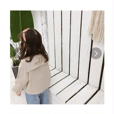 サイズ80cmから 120cm韓国刺繍いりシャツ、女の子の可愛い一品