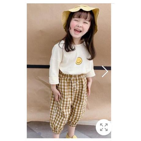 即納【イエローブラック100cmと120cm】韓国セール。チェック柄ズボン