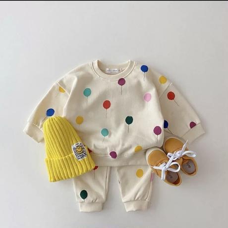 【73cmから120cm】男の子と女の子のための服のセット,風船とスウェットシャツのプリントがセットされたかわいい秋の服,綿のプルオーバー,2個,2021