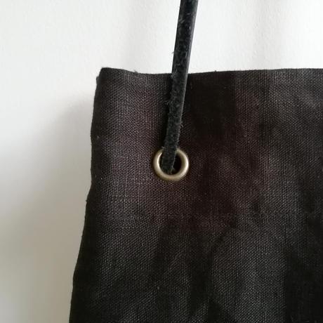 リネン巾着バッグ  Black
