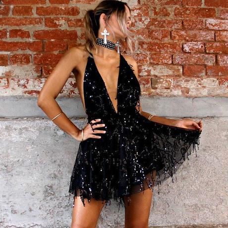 セクシー ドレス 女性 背中セクシー ホルターネック ブラック ゴールド ミニ ドレス パーティー タッセル 夏 ドレス クラブ ウェア セクシー フレアワンピース ノースリーブ スパンコール