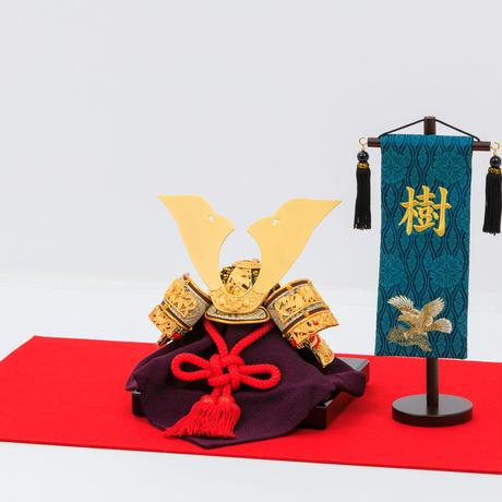 シンプル毛氈飾り「国宝模写竹雀の兜」
