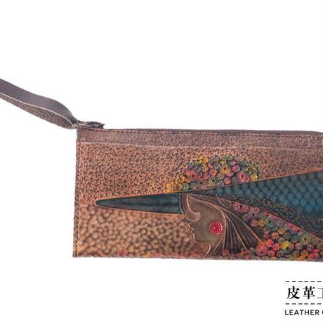 ファスナーセカンド 横顔 こげ茶【05FS-GF-DB】