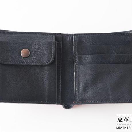 二つ折り財布 横顔 赤【07FW-GF-RD】