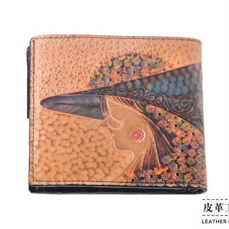 二つ折り財布 箱 横顔 ベージュ【07FWB-GF-BG】