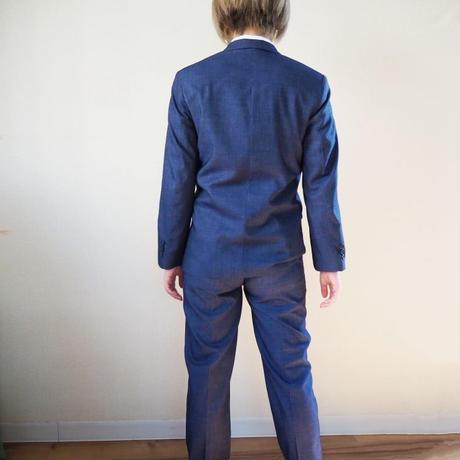 デニム風3ピースダブルスーツ