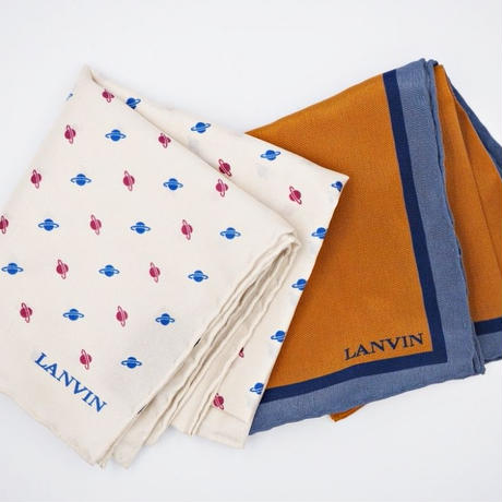 LANVIN ブラウンソリッドポケットチーフ