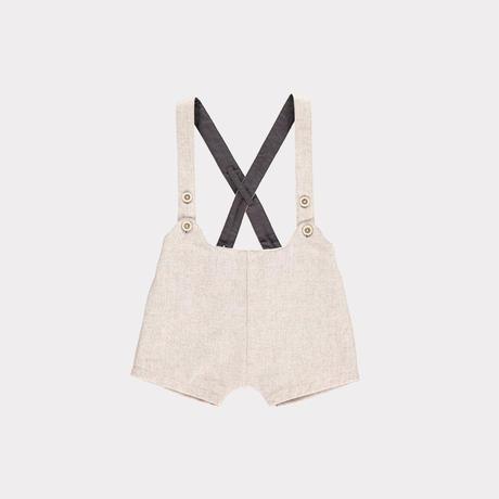 【happyology】Claude Baby Dungaree Shorts, Cream