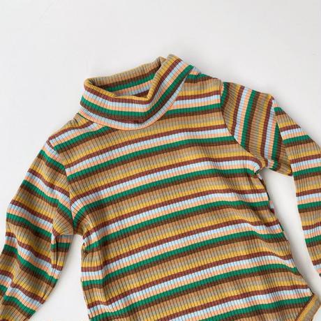 【 bel & bow】Mock Neck Ribbed Long Sleeve Bodysuit - Tan Stripes
