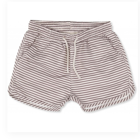 【kongessloejd】SOLEIL BOYS SWIM SHORTS - STRIPED BORDEAUX/NATURE