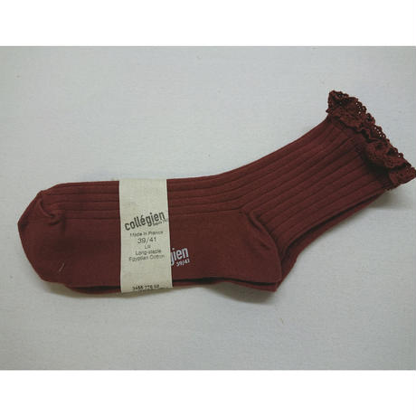 【collegien women】lace trim ankle socks