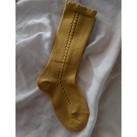 【condor】pearl side open work high socks size 4