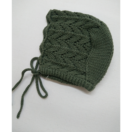【penooras】knit frill bonnet - dark green