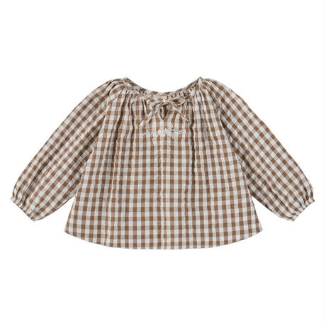 【 little cotton clothes 】Olive blouse - seersucker gingham with embroidery