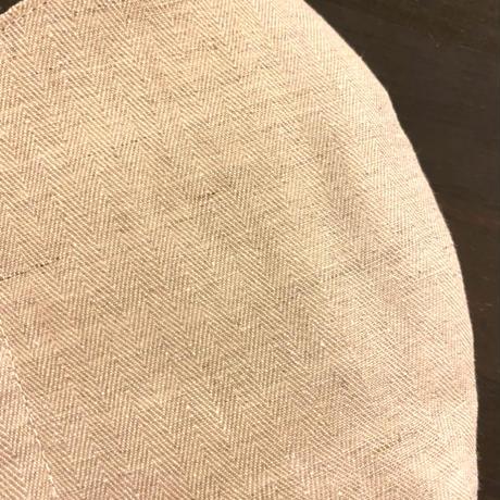 ヘリンボーン・コットンリネンの立体マスク(送料無料)