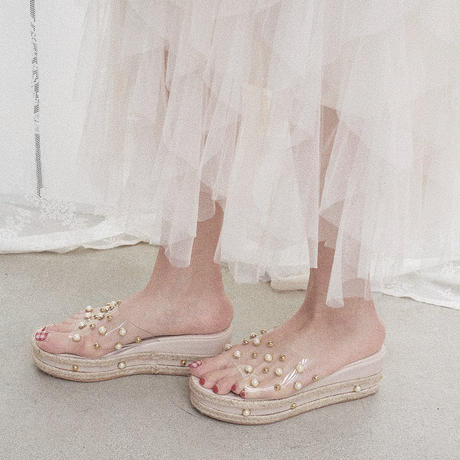 clear pearl wedge sandals