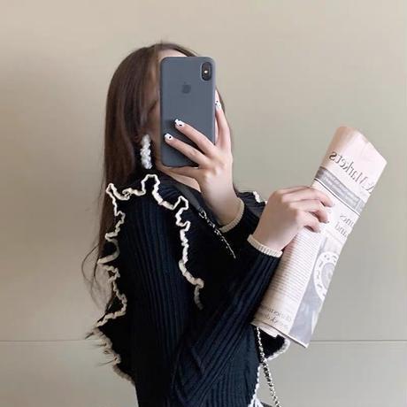 bicolor frill knit