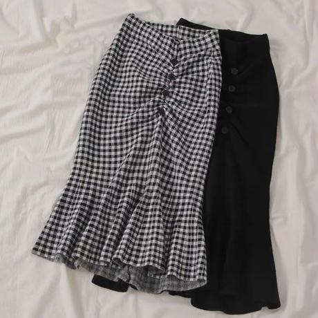 gingham check gather skirt