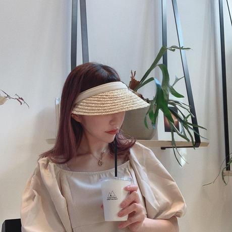 white line straw sunvisor