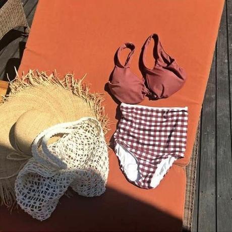 pinkbrown check swimwear