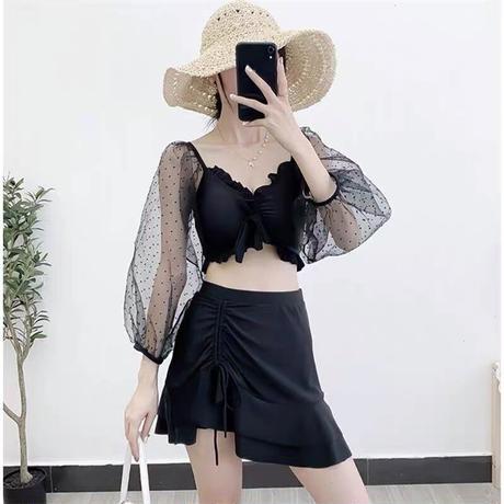 dot lace skirt set swimwear