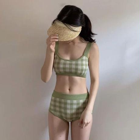pistacchio check green swimwear
