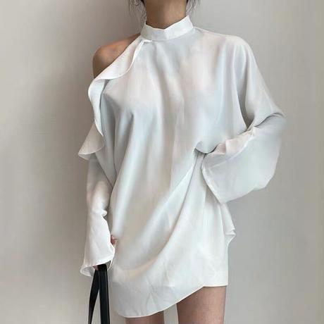 one shoulder frill blouse