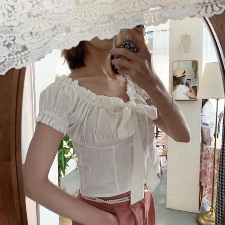 ribbon gather blouse