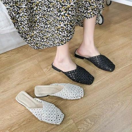 mesh square flat sandal