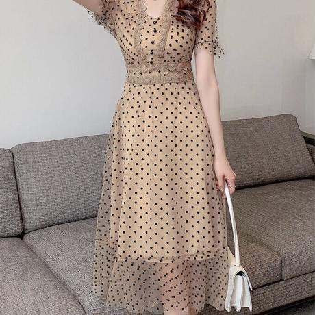 dot brown lace onepiece