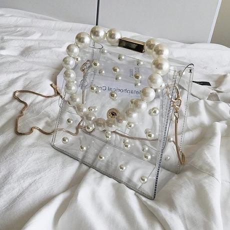 clear pearl handle bag