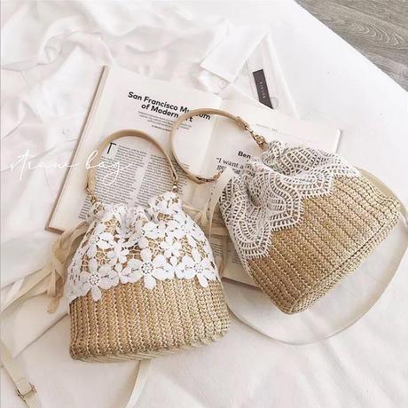 lace docking straw bag