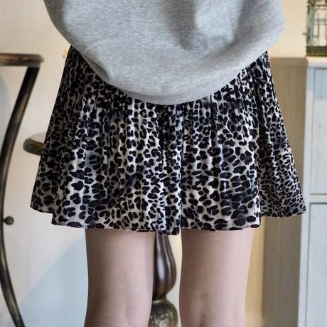 Leopard pleated skirt