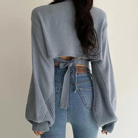 back ribbon dusty blue  knit