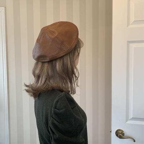 fake leather beret