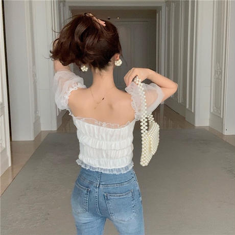 tulle puff sleeve blouse