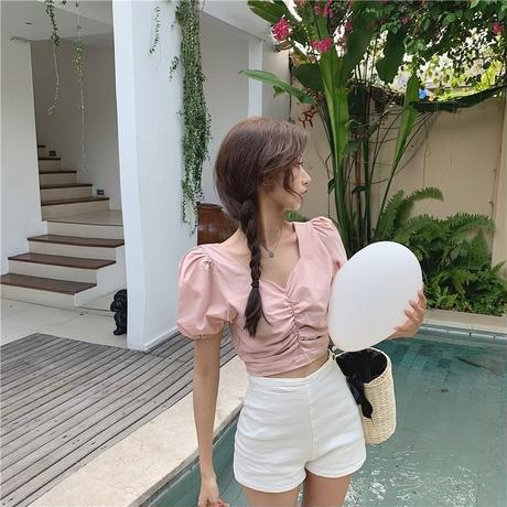 puff sleeve gather blouse