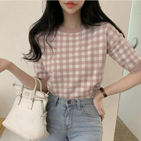 gingham check summer knit