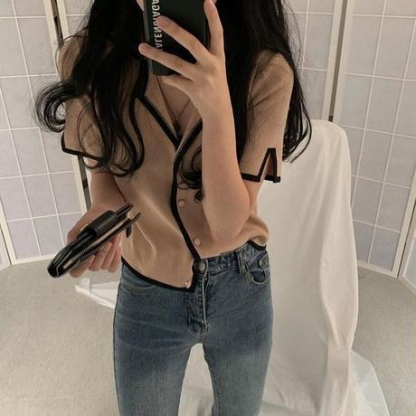 【即納】bicolor knit blouse